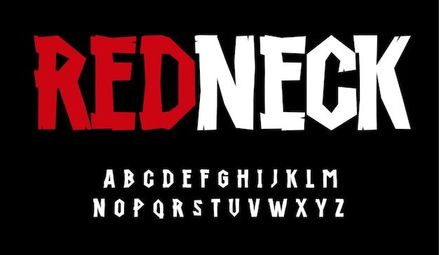 Type rustique de police renversante élevée d'alphabet de plouc pour le monogramme de titre de logo de dessin animé moderne créatif