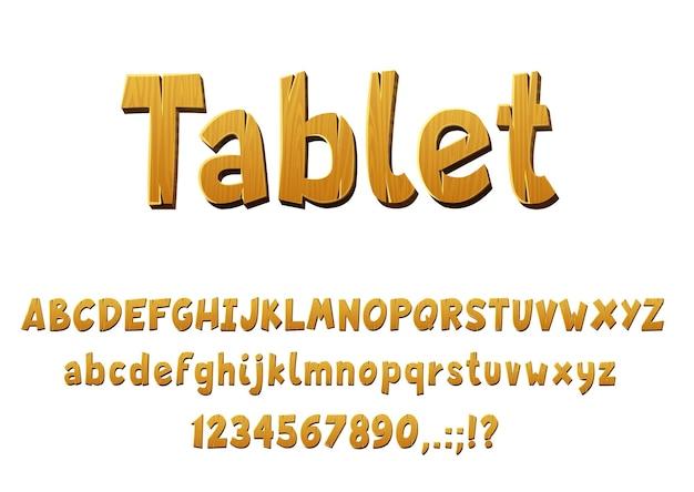 Type de vecteur de police en bois avec des lettres, des chiffres et des symboles isolés de chêne et de pin. police de l'alphabet en bois, texte de dessin animé des panneaux de planche et typographie audacieuse avec effet d'ombre 3d, type d'arbre en bois