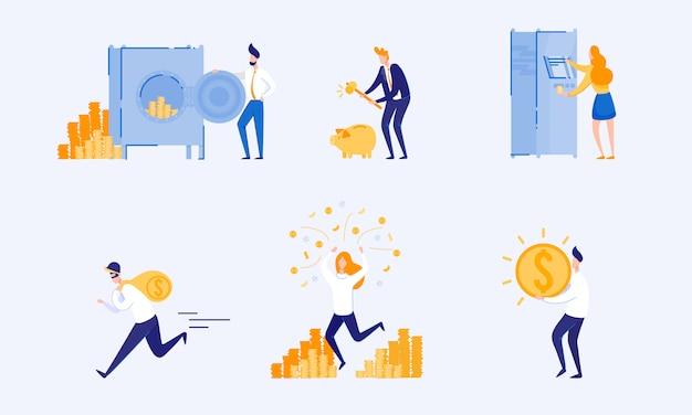 Types accumulation et stockage de l'argent. vecteur.