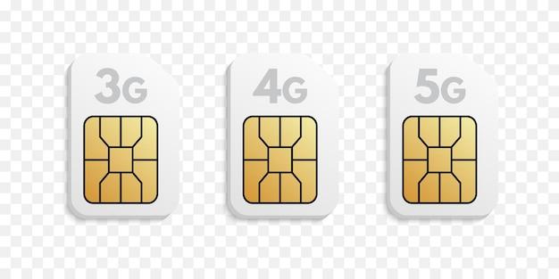 Types de cartes sim 3g, 4g, 5g.