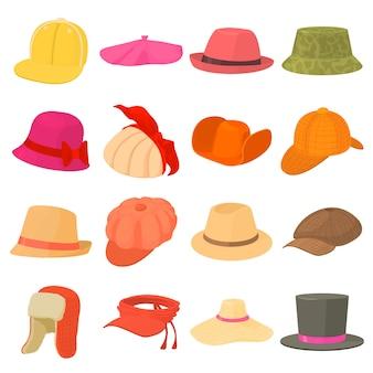 Types de chapeau icônes ensemble coiffe