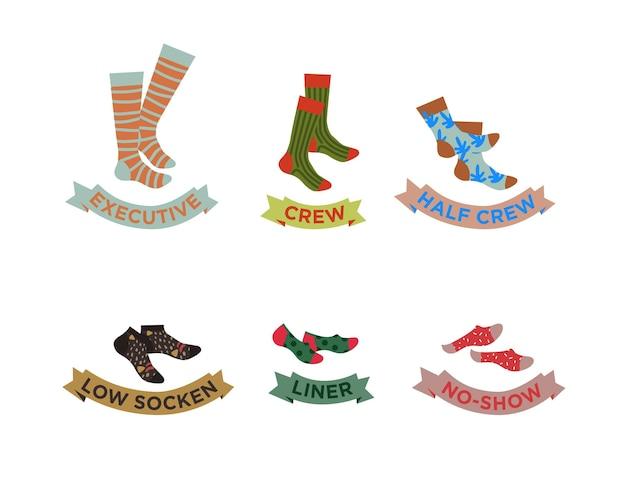 Types de chaussettes set noshow lowcut socks avec titres vector illustration drôle socks set