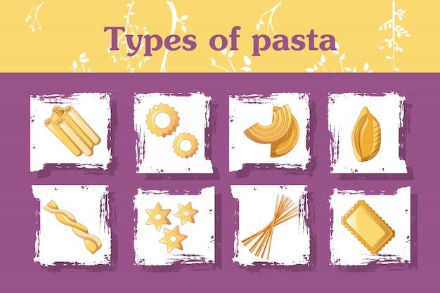 Types de concept de pâtes italiennes, style cartoon