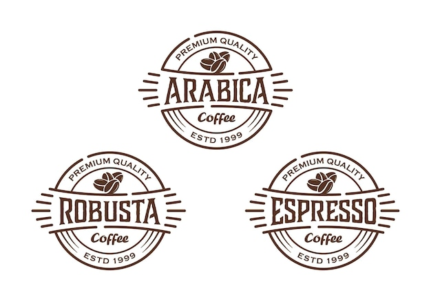 Types de conception vintage de café, modèle d'inspiration de conception de logo d'insigne d'étiquette de timbre