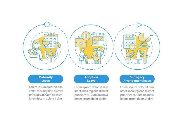 Types de congé de maternité modèle infographique vectoriel bleu. éléments de conception de contour de présentation. visualisation des données en 3 étapes. diagramme d'informations sur la chronologie du processus. disposition du flux de travail avec des icônes de ligne