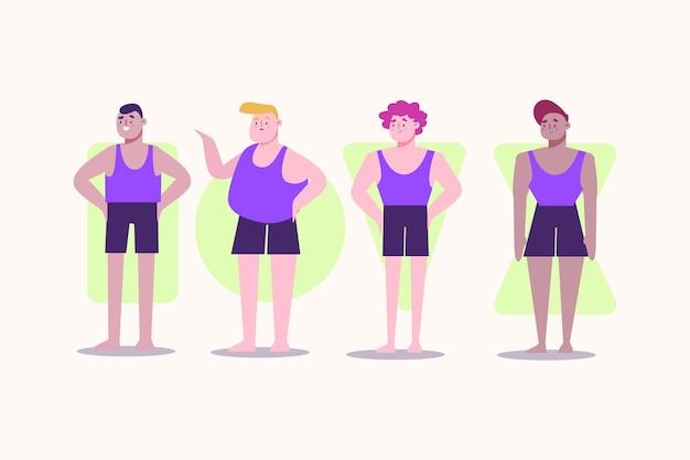 Types de corps masculins dessinés à la main