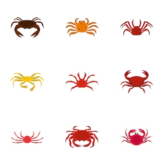 Types de crabes, style cartoon