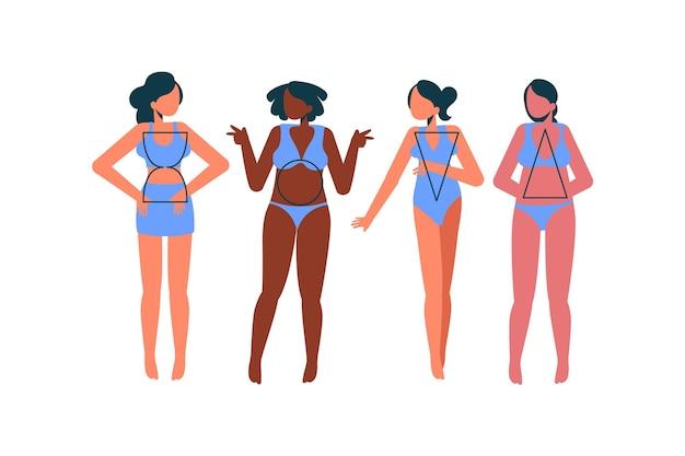 Types dessinés à la main de formes de corps féminins