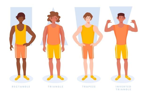 Types dessinés à la main de formes de corps masculins