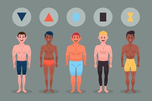 Types de dessins animés de pack de formes de corps masculin