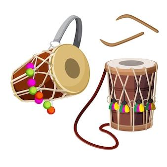 Types de dhol de tambour à double tête et illustration de bâtons en bois