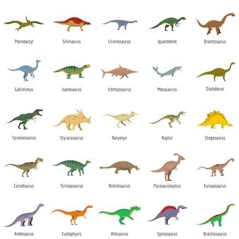 Types de dinosaures signé nom icônes set vector isolé