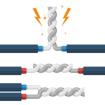 Types de fils torsadés, court-circuit de défaut de shunt de câble haute tension, court-circuit