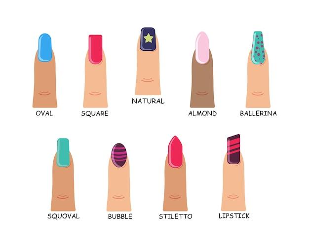 Types de formes de couleurs vives à la mode de la collection d'ongles. ensemble de différentes formes de clous sur fond blanc. manucure féminine à plat. illustration.