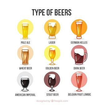 Types de jeu de bière dessiné à la main