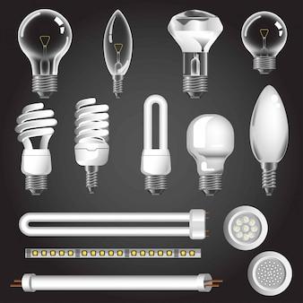 Types de lampes vectorielles icônes réalistes 3d