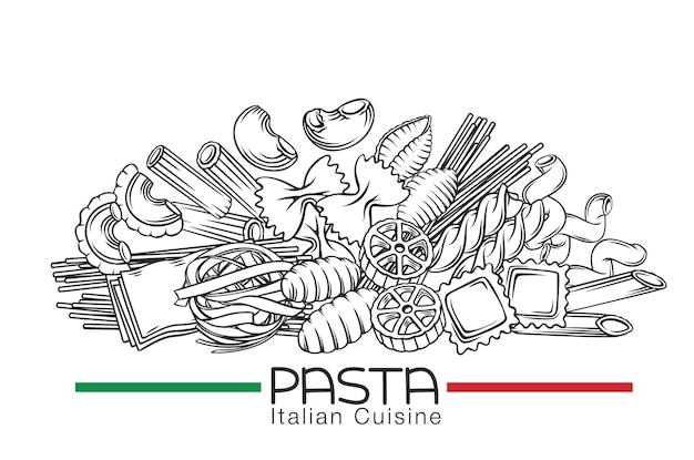 Types de macaroni de pâtes italiennes illustration dessinée à la main dans un style rétro