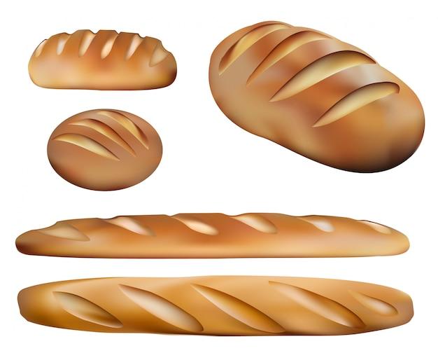 Types de pain et produits de boulangerie. cinq pains réalistes