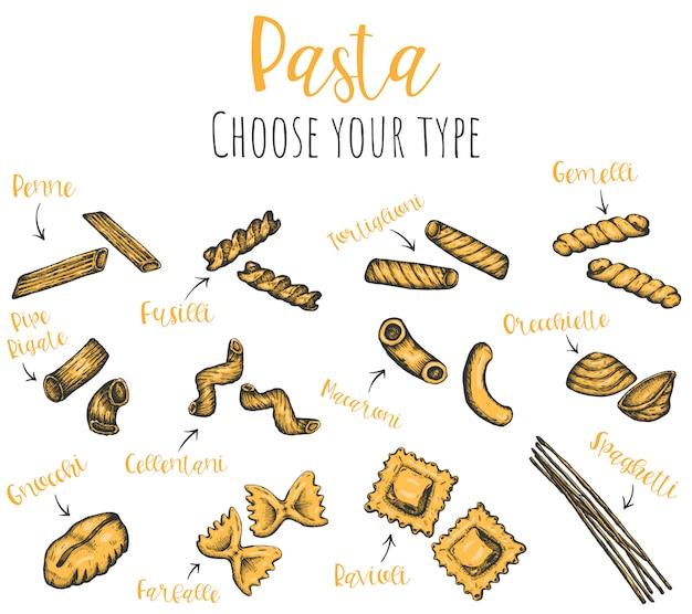 Types de pâtes dessinés à la main, illustrations d'encre esquissées isolées.