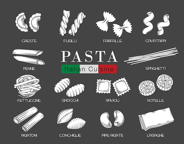 Types de pâtes italiennes ou macaronis, glyphe blanc sur illustration noire