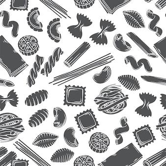Types de pâtes italiennes modèle sans couture glyphe monochrome isolé