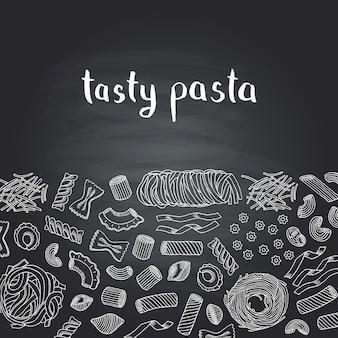 Types de pâtes profilées dessinés à la main sur tableau noir avec lettrage. restaurant italien de pâtes alimentaires, croquis dessin spaghetti