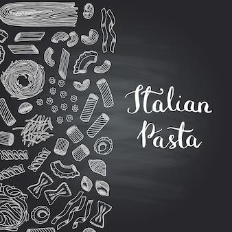 Types de pâtes profilées dessinés à la main sur un tableau noir avec lettrage