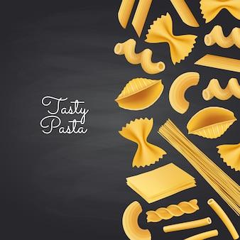 Types de pâtes vectorielles sur illustration de fond de tableau noir
