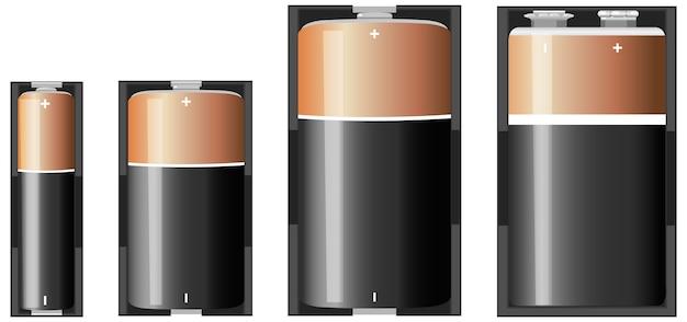 Types de piles alcalines isolés sur fond blanc