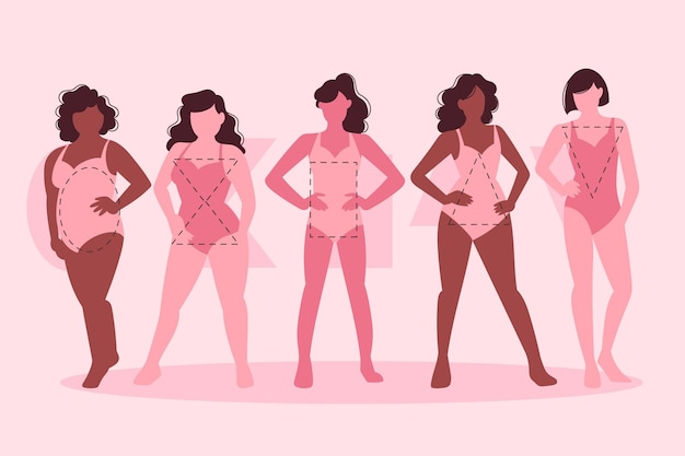 Types plats de pack de formes de corps féminin