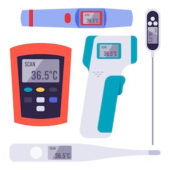 Types de thermomètres au design plat