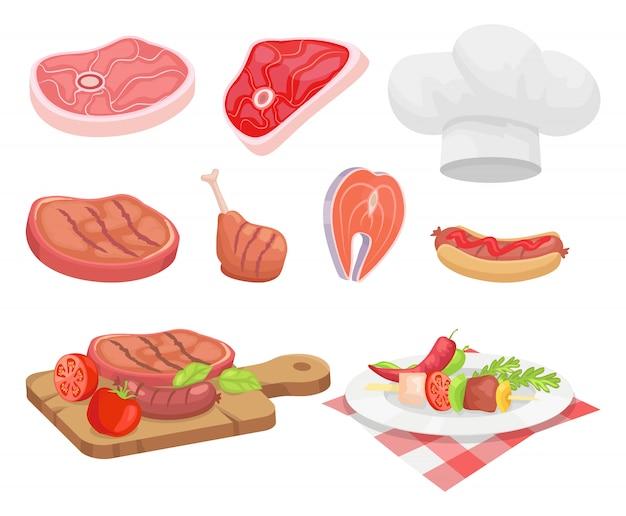 Types de viande bœuf et poulet