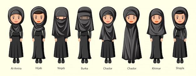 Types de voiles traditionnels de femme en personnage de dessin animé