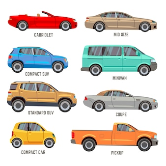 Types de voitures vector icônes plates