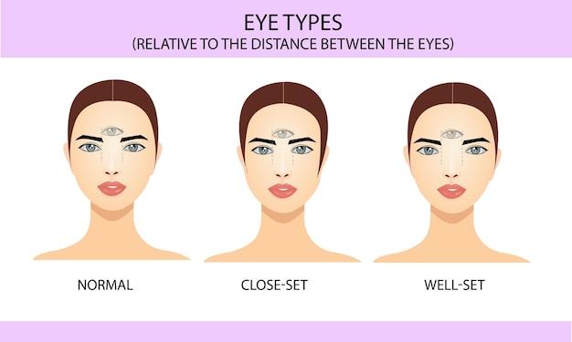 Types d'yeux en relation avec l'emplacement entre les yeux