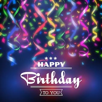 Typo fond de joyeux anniversaire. célébration du design, décoration d'invitation à une fête