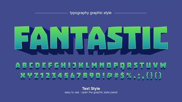 Typographie 3d en dégradé vert carré