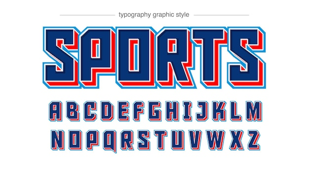 Typographie 3d varsity bleu foncé et rouge
