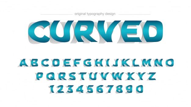 Typographie abstraite bleue pliée