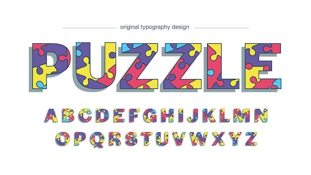 Typographie abstraite de pièces de puzzle colorées