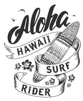 Typographie aloha avec illustration de planche de surf pour impression de t-shirt