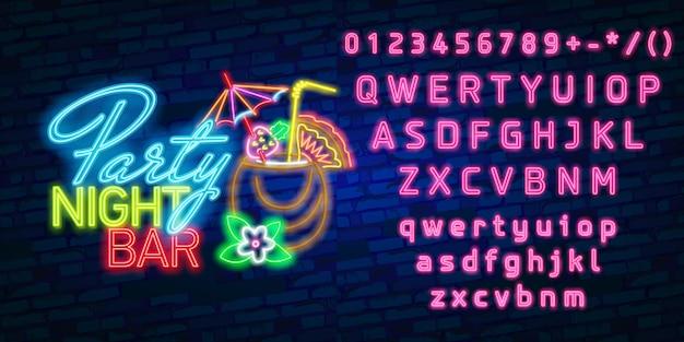 Typographie alphabet de polices néon avec fête nuit bar enseigne au néon, enseigne lumineuse