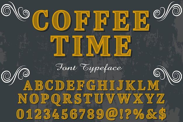 Typographie alphabétique style graphique café heure