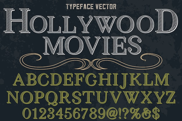 Typographie alphabétique style graphique hollywood movies