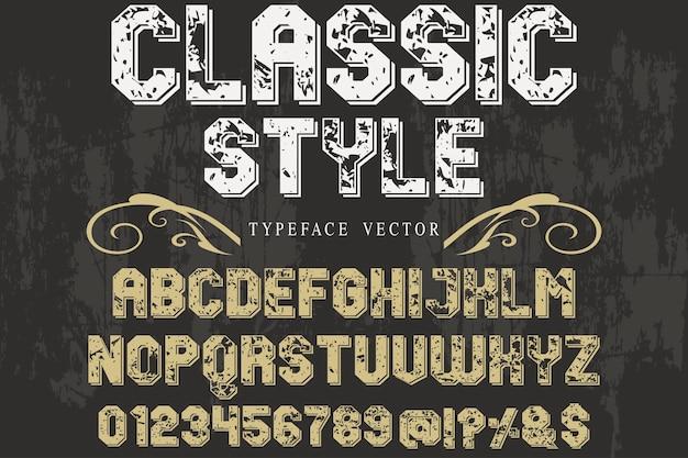 Typographie alphabétique style graphique style classique