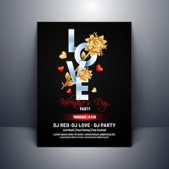 Typographie de l'amour avec des formes de fleur rose et coeur sur fond noir
