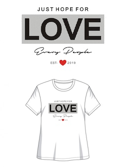 Typographie d'amour pour fille t-shirt imprimé