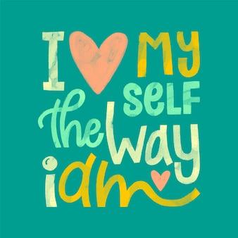 Typographie d'amour de soi avec coeur