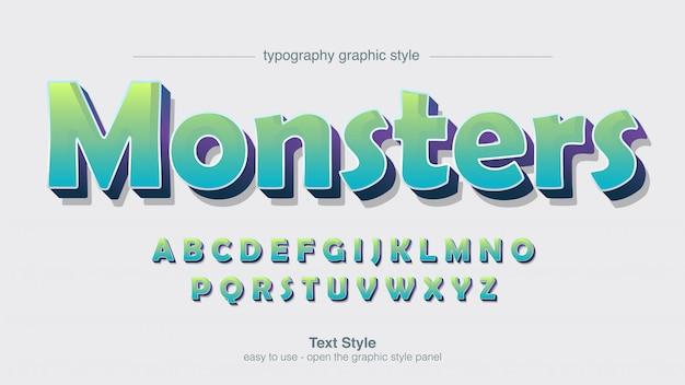 Typographie de bande dessinée colorée verte