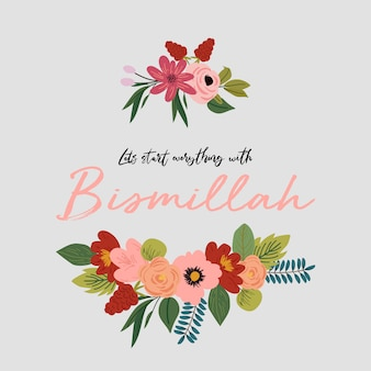 Typographie bismillah avec des fleurs